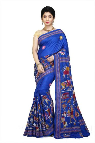 Silk Kanthastitch Saree of Shantiniketan