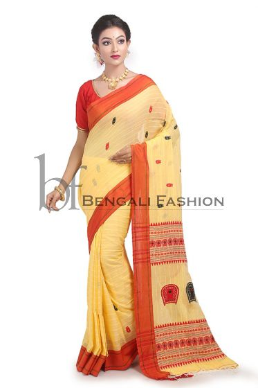 Red and Yellow pure cotton saree for Puja