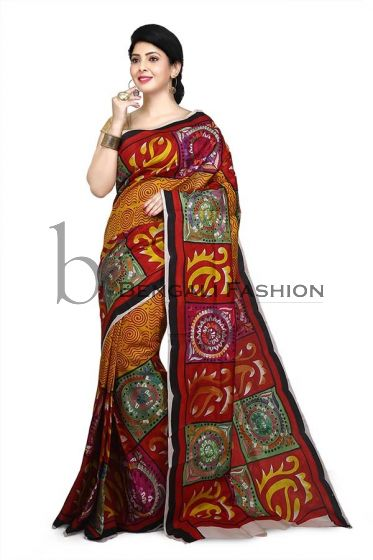 Gorgeous Hand painted with Kanthastitch silk Saree