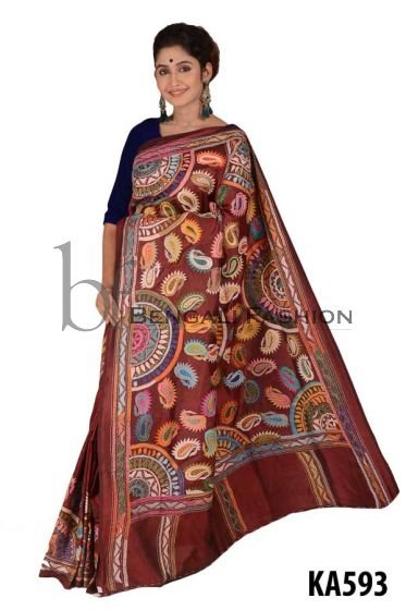 Stylist Silk Kantha Stitch Saree