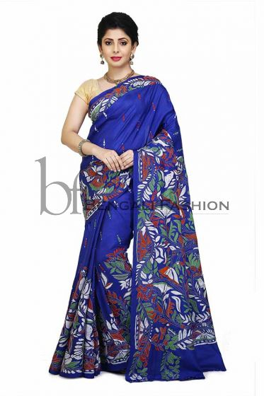 Multi Colur Flower Pattern Kanthastitch Saree
