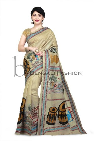 Pure Tussar Silk Kanthastitch Saree