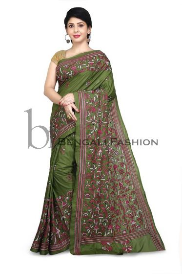 Shantiniketan Art Silk Kantha Stitch Saree