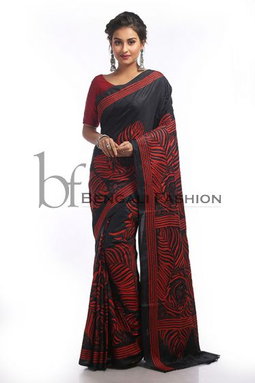 Gorgeous Black Art Silk Hand Stitch Saree