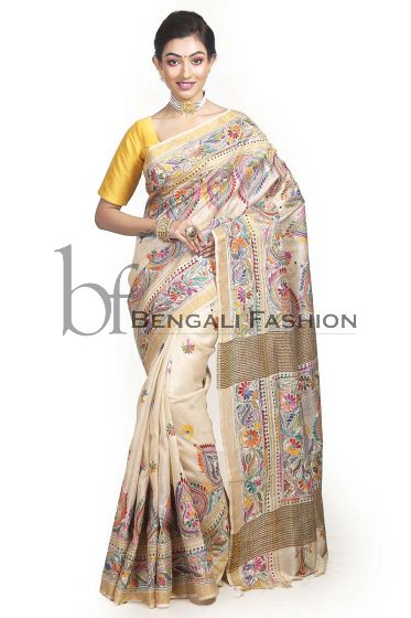 Tussar Kantha Stitch Saree of Shantiniketan